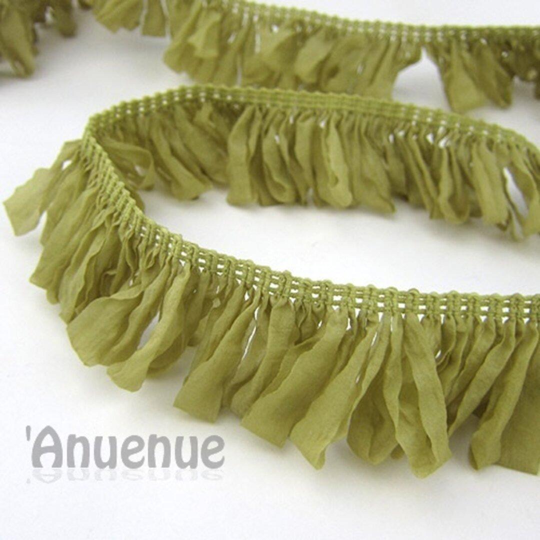 フレンチタフタループフリンジリボン(Olive/ オリーブ)×45cm