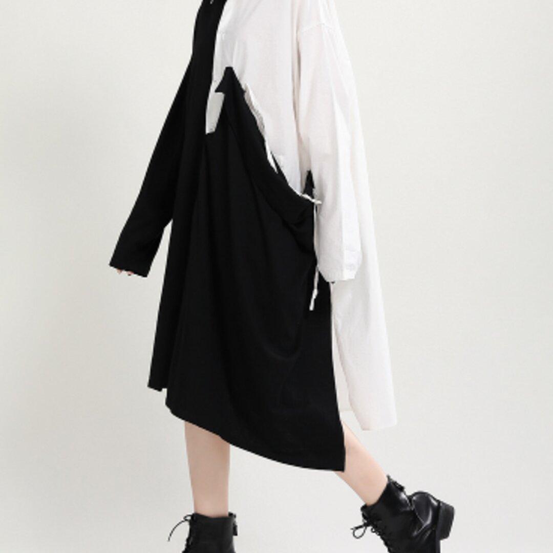 新しい秋のドレスデザインセンス気質黒と白のステッチミドル丈シャツスカート不規則なドレス