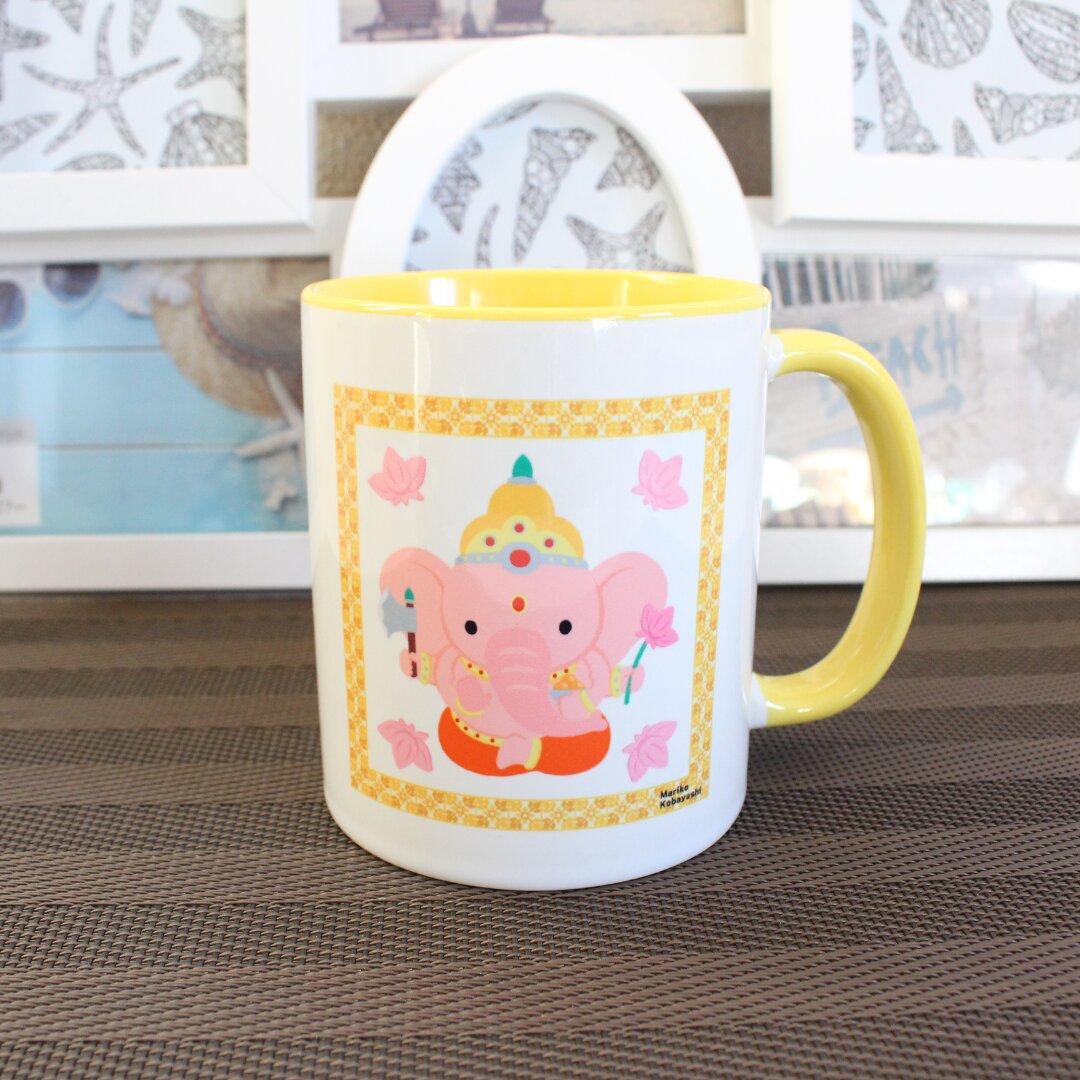 ほっこりガネーシャ かわいい元気が出るマグカップ イエロー たっぷりコーヒー1杯分
