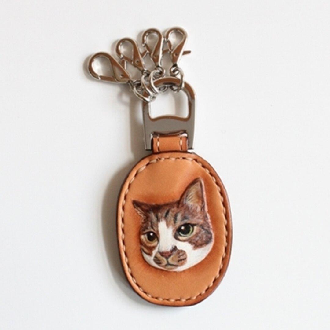 ペットの似顔絵を描いて彫りキーリングに仕立てます 革製品 猫 犬 イラスト
