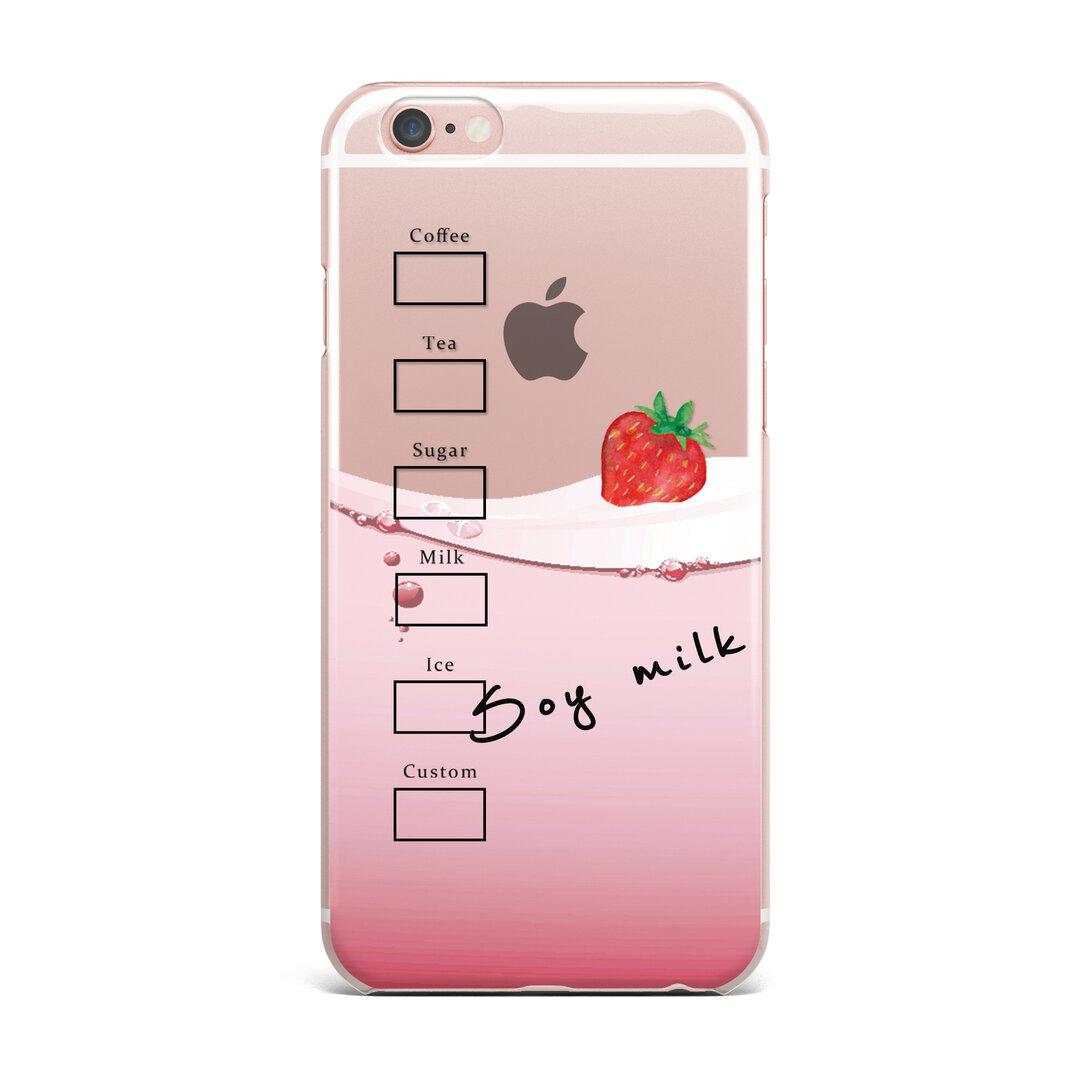 ソイいちごラテ* iPhone11/iPhoneXR/iPhoneXSMax/iPhone8/iPhoneSE/クリアケース