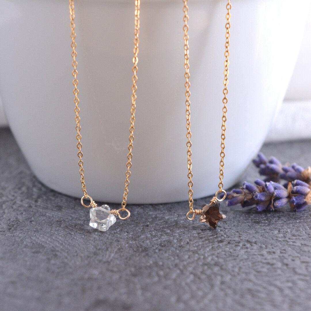 14KGF星の天然石シンプルネックレス・スターグリーンアメジスト、スモーキークォーツ、ブルートパーズペンダント・小粒ネックレス・宝石ネックレス・プレゼント