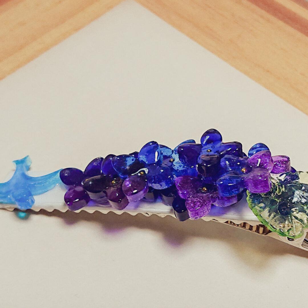 紫陽花と青い鳥のヘアクリップ