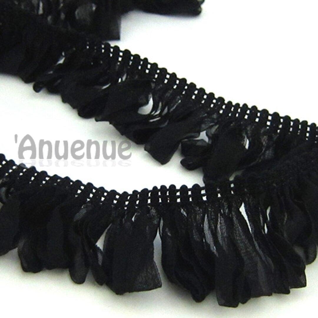 シフォン ループフリンジリボン(Black / ブラック)×50cm