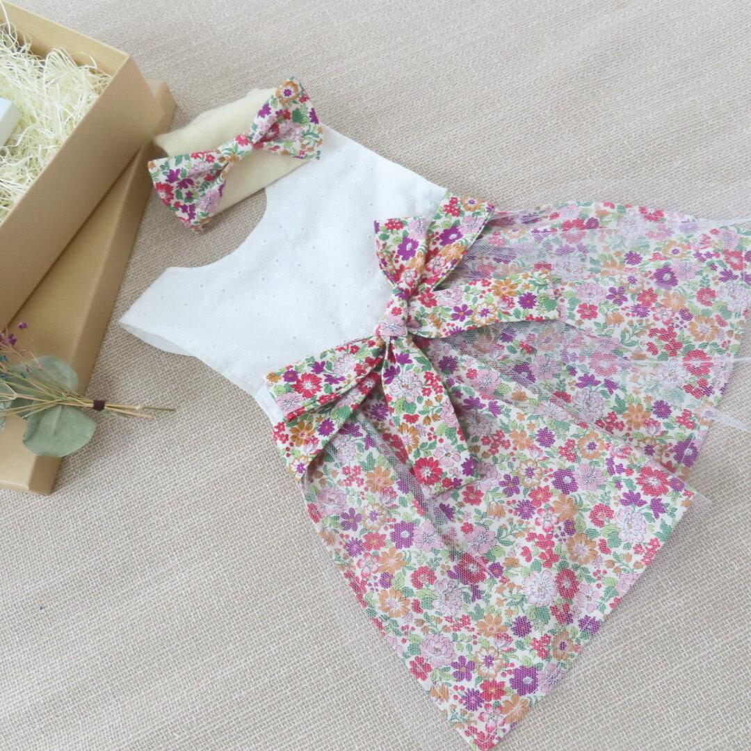 Instagramで人気✳︎綿100%コットンダブルガーゼ日本製使用             ドレススタイ スタイエプロン リボンヘアバンド✳︎