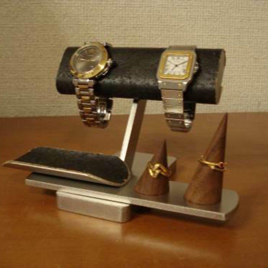 誕生日プレゼントに 腕時計 飾る ブラック腕時計&リングスタンド 受注販売 No.120816