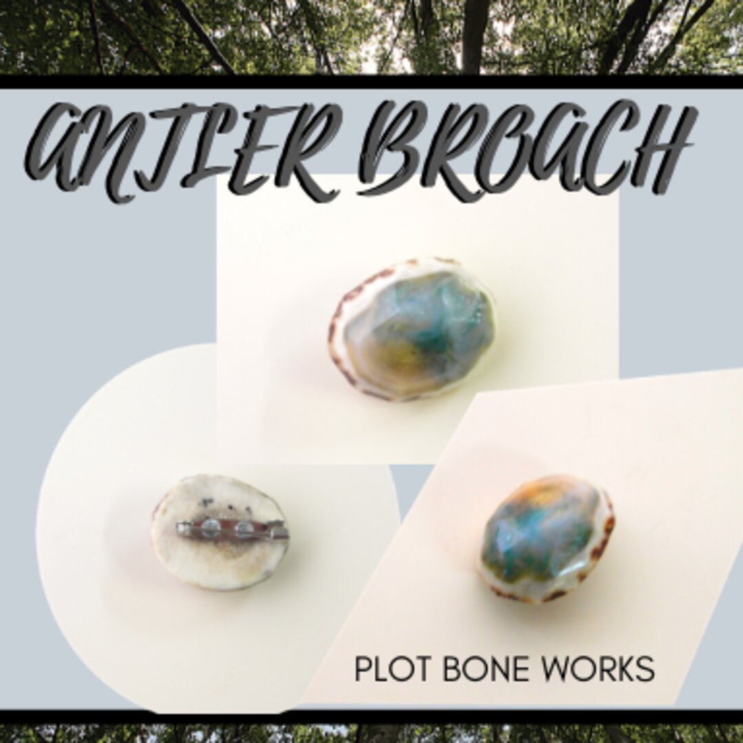 Antler and Resin Broach/鹿角とレジンのブローチ