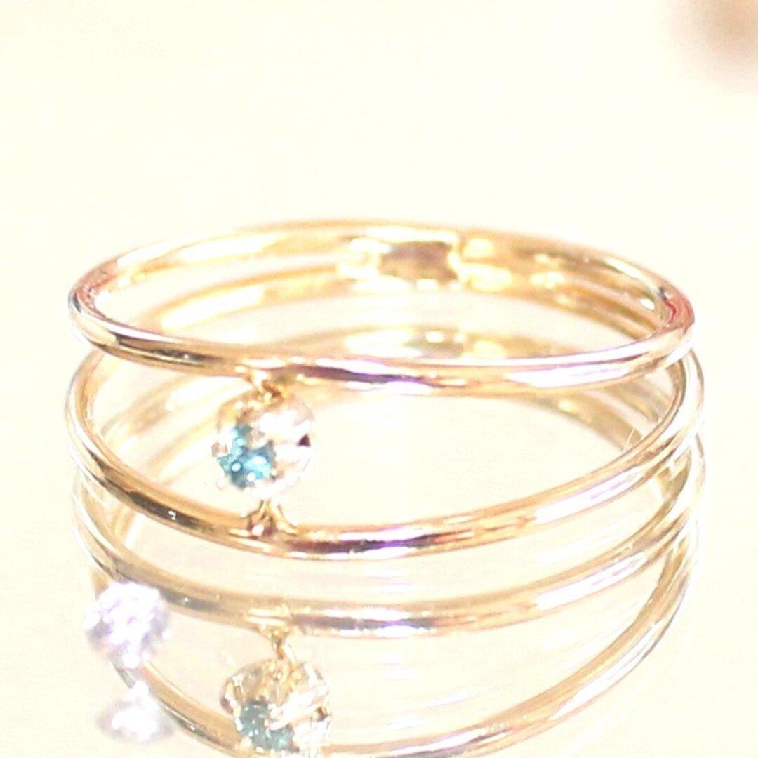Blue diamond ring & white & pink