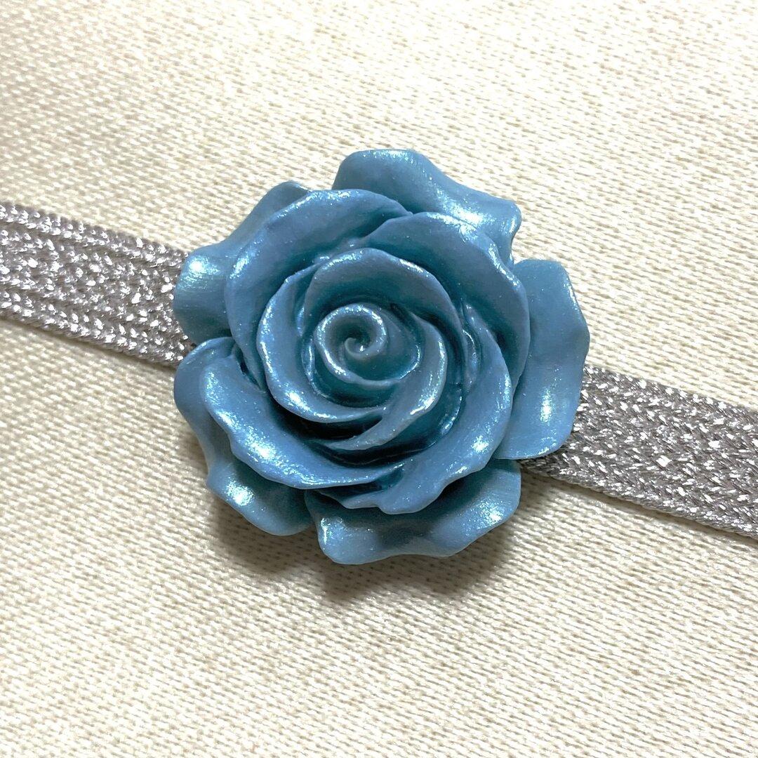 薔薇 ローズ 花 フラワー 帯留め 帯留 (ブルー)