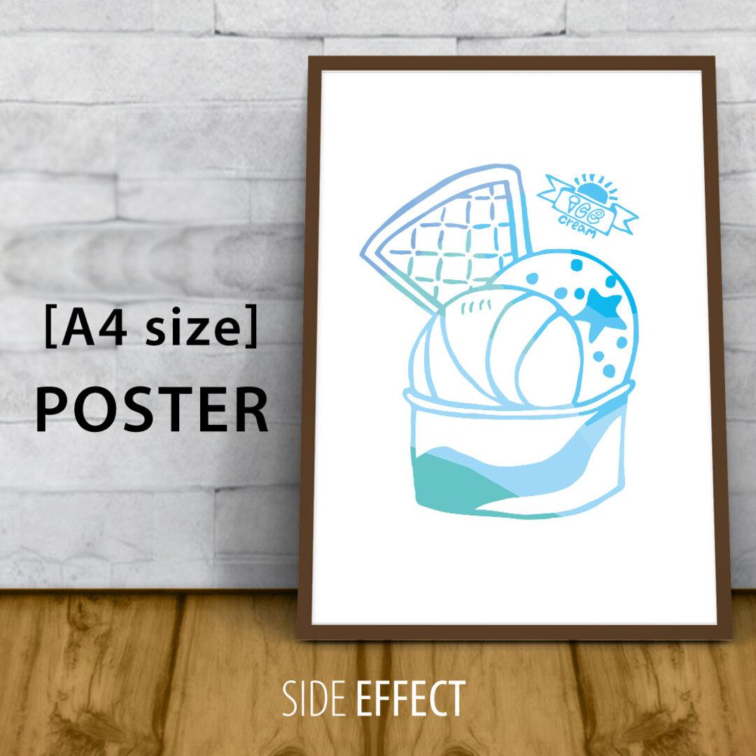 グラフィックポスター【アイスクリーム/ブルー】   ◆夏◆水色◆アイス◆西海岸◆オシャレ◆カフェ風◆アメリカン◆青