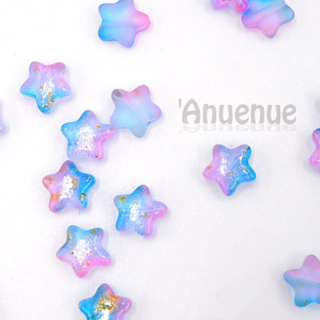 スターチェコクリスタルビーズ 8mm【Blue x Purple x Gold powder】10個