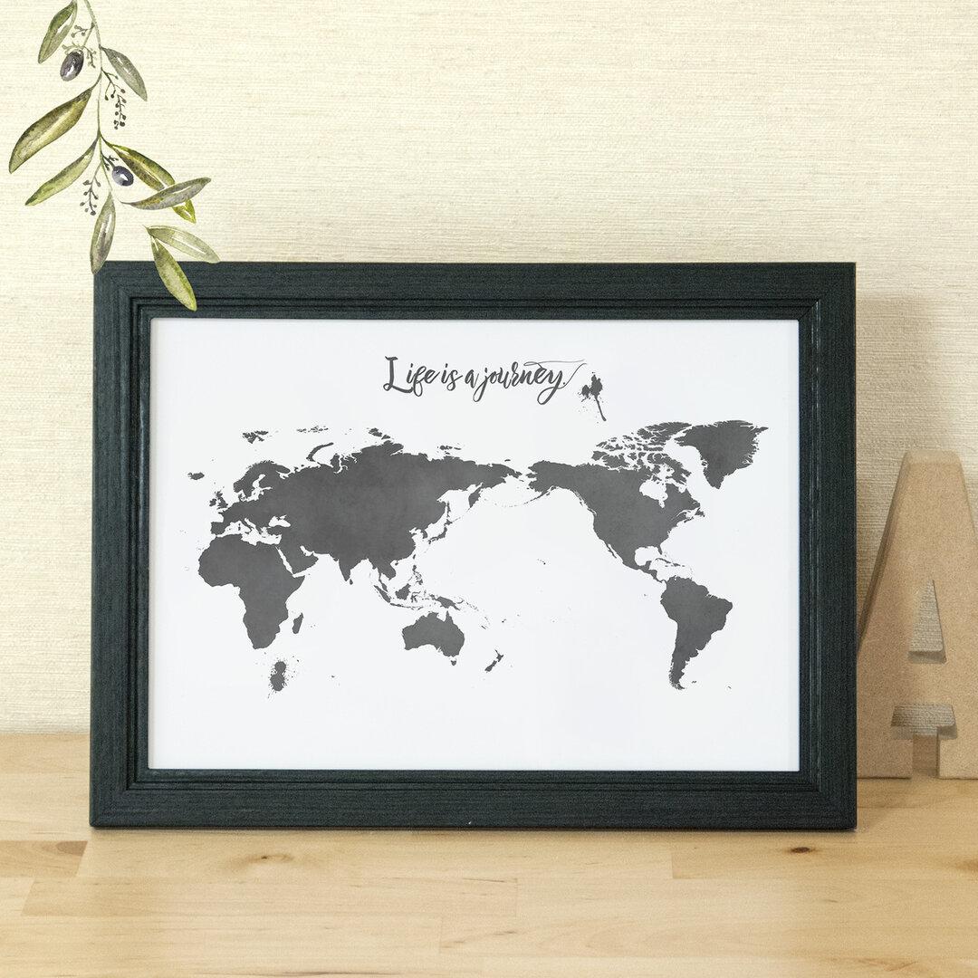 A4世界地図ポスター ホワイト&ブラック / シンプル&ミニマルマップ白黒