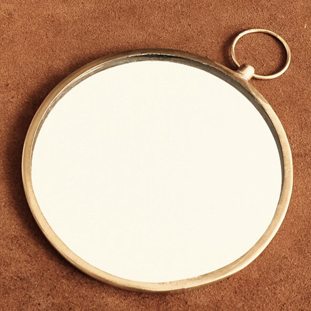 真鍮 手鏡 (大サイズ): ブラス ミラー 雑貨 化粧品 パーツ ゴールド 旅行グッズ リング 雑貨 小物 コスメ 丸い アンティーク