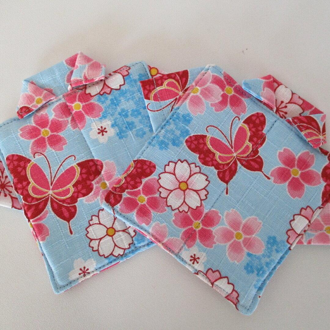 コースター2枚セット(花蝶)