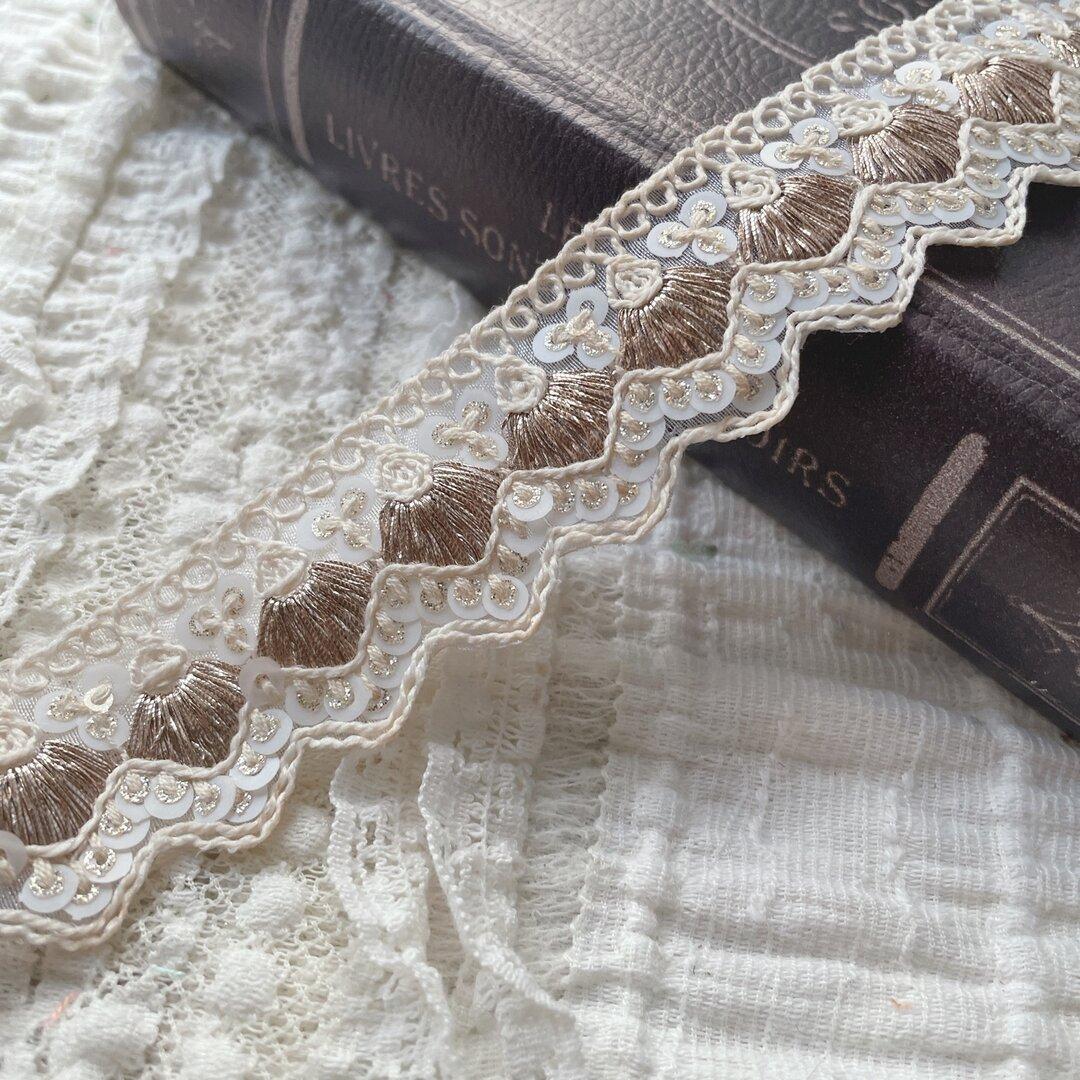 インド刺繍リボン 花 インド刺繍 スパンコール