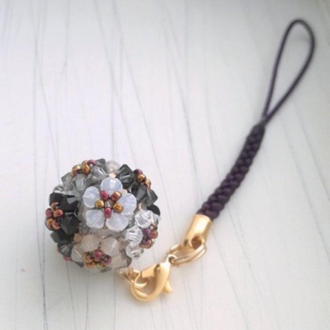 【数量限定】花手毬の根付け・帯飾り6color(モノトーン)