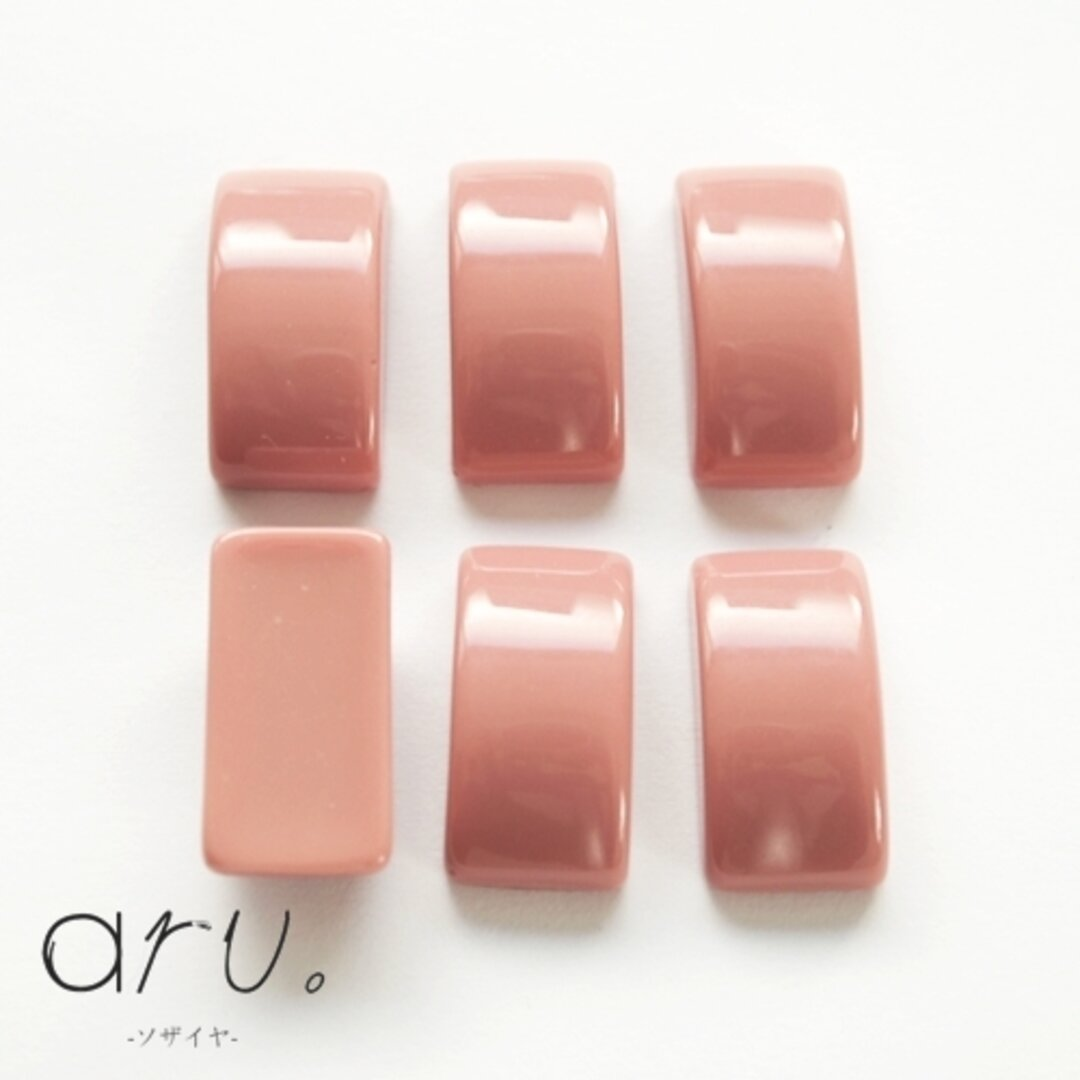 [S1906-3] 【20個】 カボション かまぼこ型 長方形 10×19mm スモーキーカラー ピンク