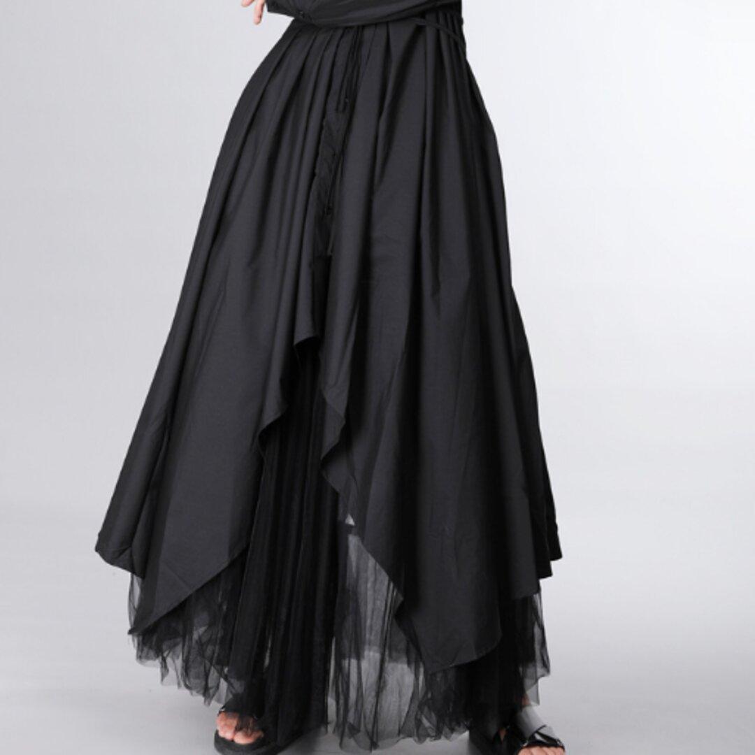 膝上に白いシャツのスカートの女性暗い風の長袖のドレス新しい春のフランスのレトロな妖精のスカート