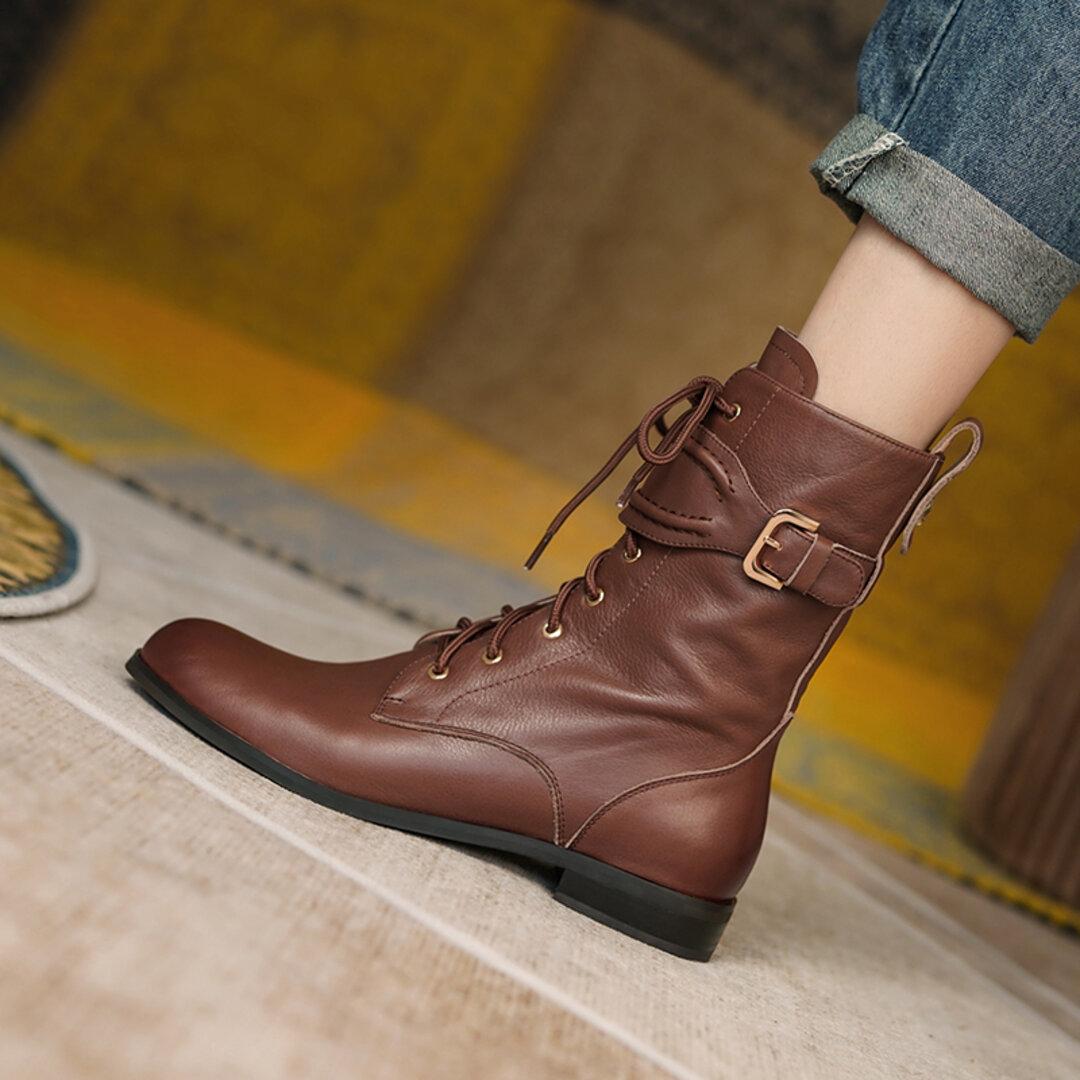 ★21秋冬新作★復古タイプ 本革の靴 お洒落なブーツ 本革靴 レディース  22㎝ー25㎝