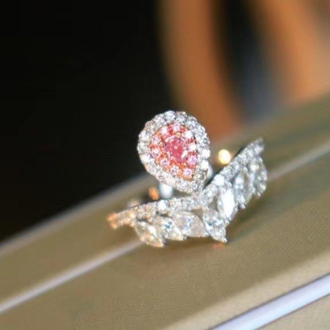 天然ピンクダイヤモンドリング0.772ct k18