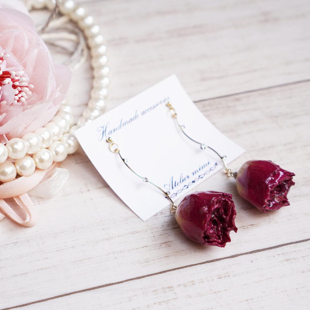 [NewSize] Rose×Bijou Wine Red(品番2101WR085)ドライフラワー/レジン