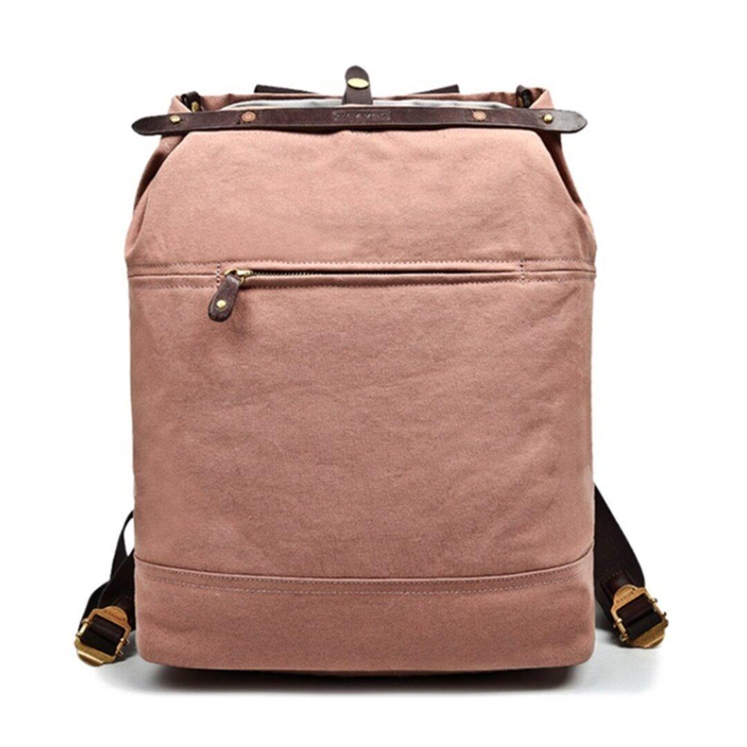 帆布 リュックサック キャンバス バックパック 大容量 アンティーク調 カジュアル A4 大学生 通勤 通学 旅行 男女兼用 ピンク色 FX13