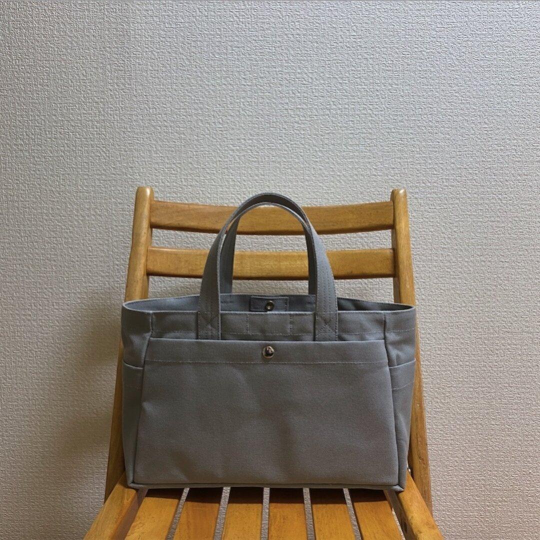 「ボックストート」横長サイズ「グレー」倉敷帆布8号【受注制作】