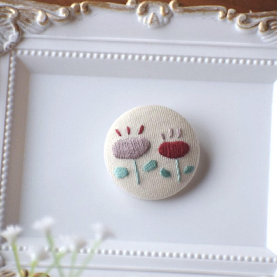 【送料無料】くるみボタン 刺繍ヘアゴム ヘアアクセ ボタニカル