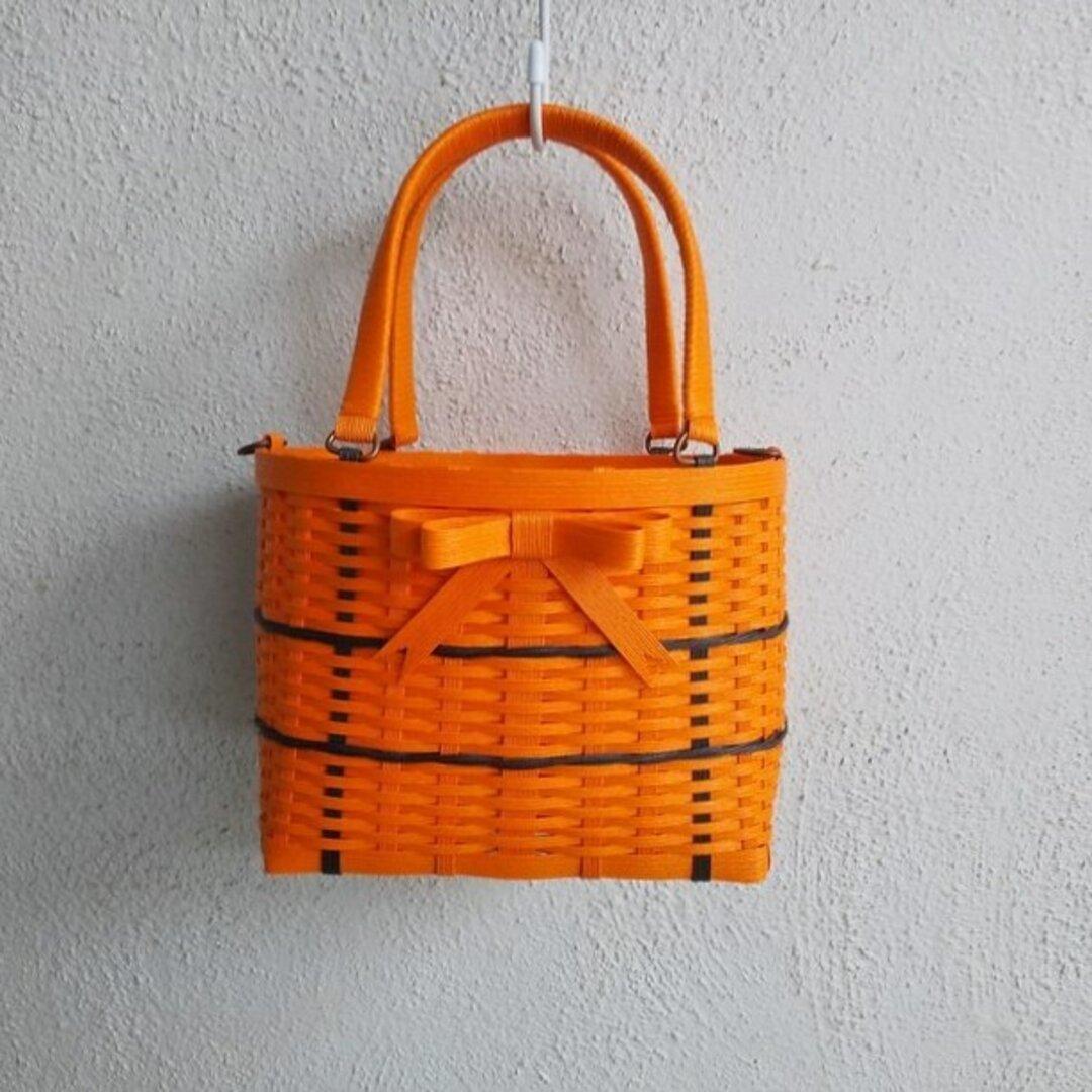 ハロウィンカラーのダブルリボンクラフトかごバッグ(S)ビタミンオレンジ&ブラック(オレンジリボン)
