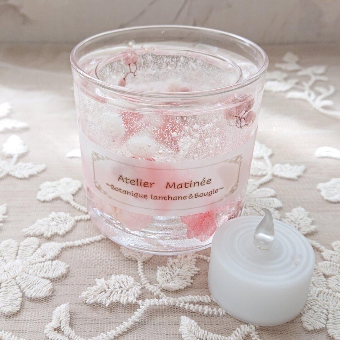 【再販】ソーダ水にお花を浮かべたようなボタニカルジェルランタン(ピンク&ホワイト)