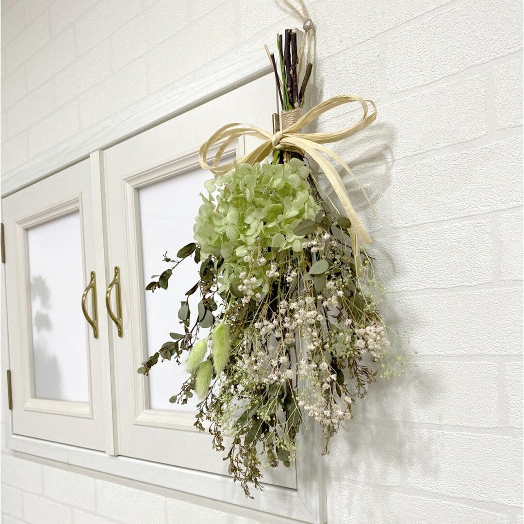 ボリュームたっぷり38cm グリーン スワッグ 〜ドライフラワー 紫陽花 ユーカリ ナチュラル