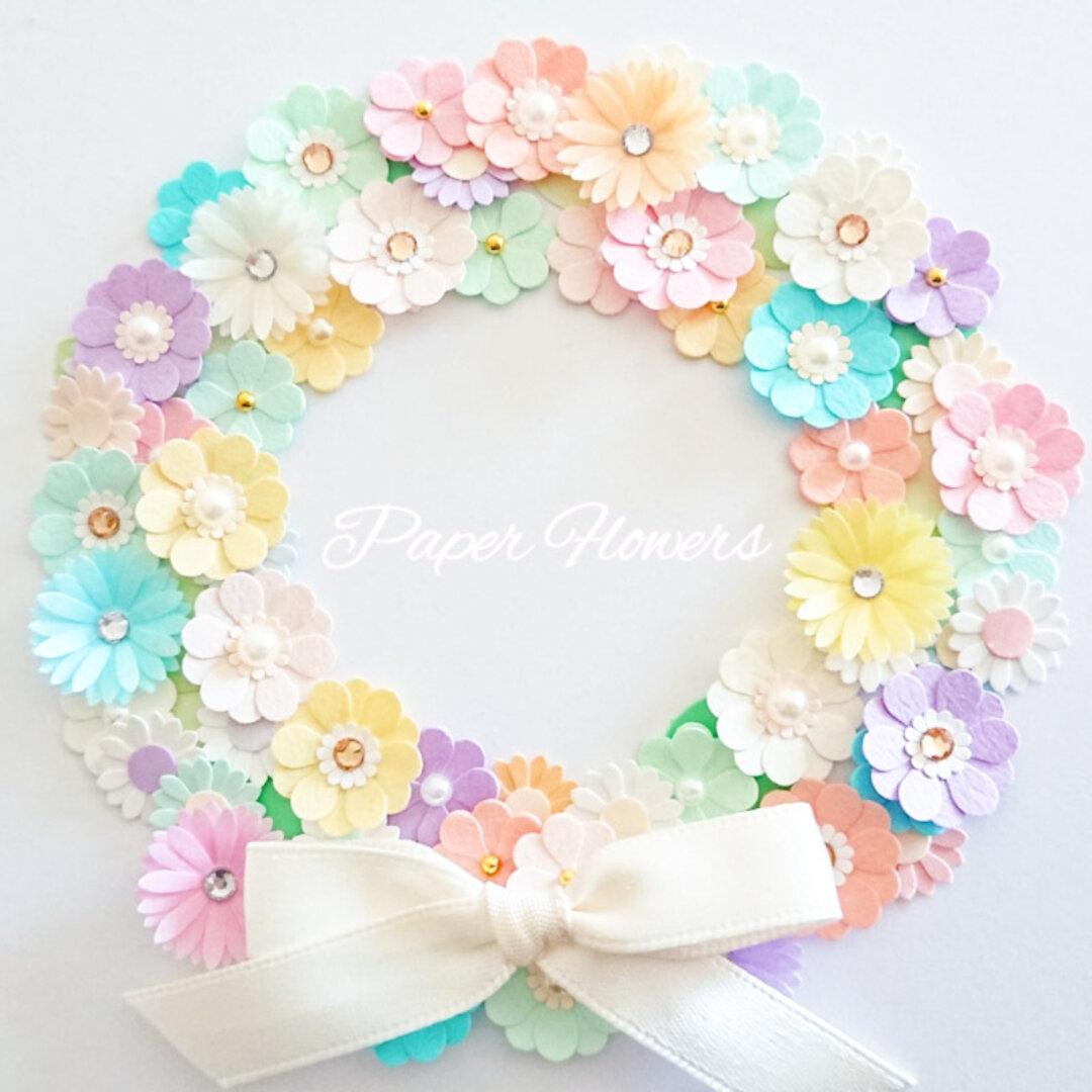 《パステルカラー》小さな お花シールミックス60枚(リーフ15枚付き)アルバム 寄せ書き 色紙の飾りやデコレーションに