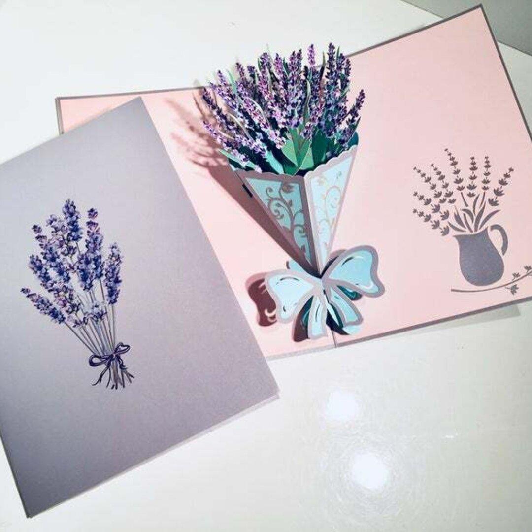 春新作! ポップアップカード 手作り切り紙  立体カード ラベンダー花束