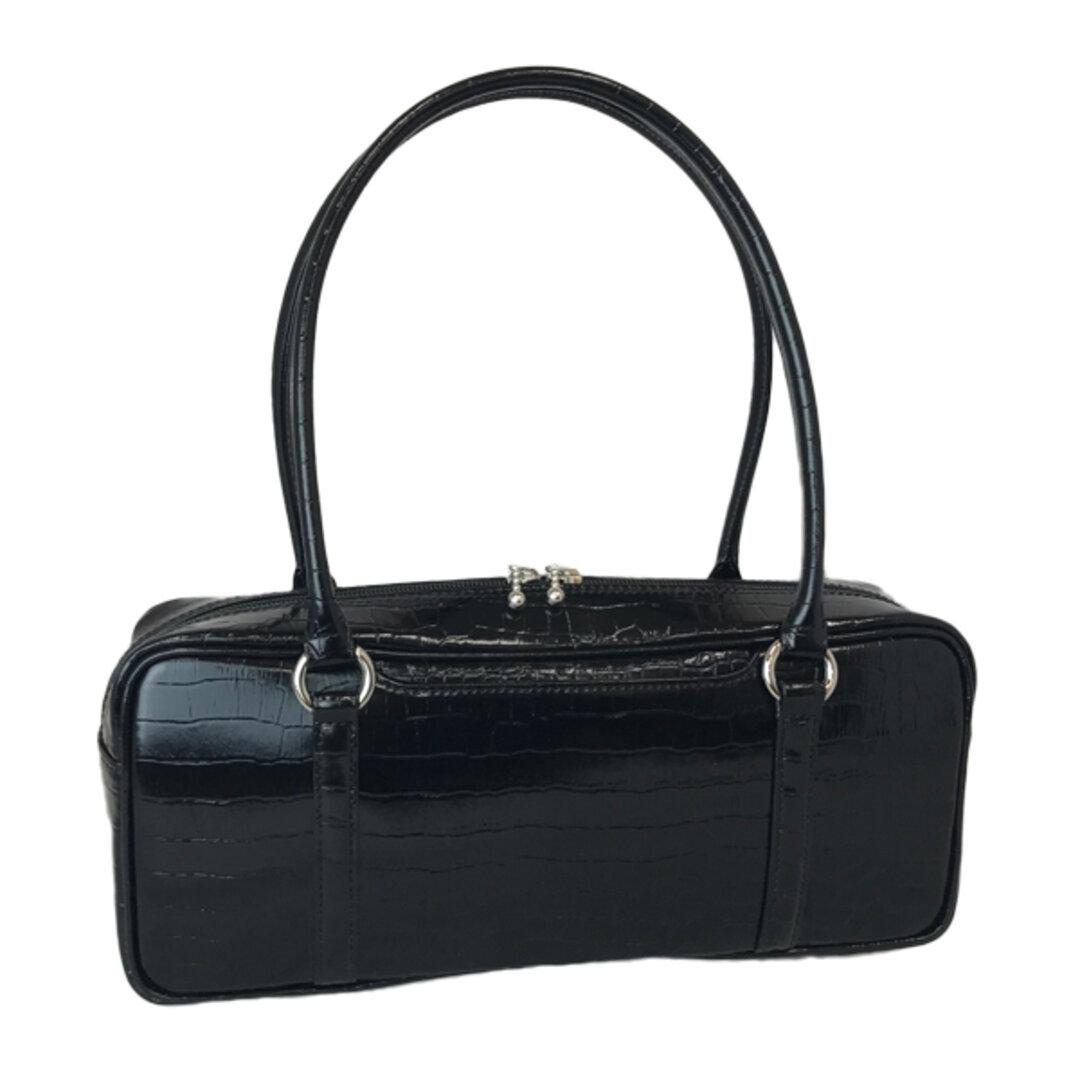 オール牛革 本革バッグ 横長ボストンバッグ リアルレザー(クロコ型) ブラック