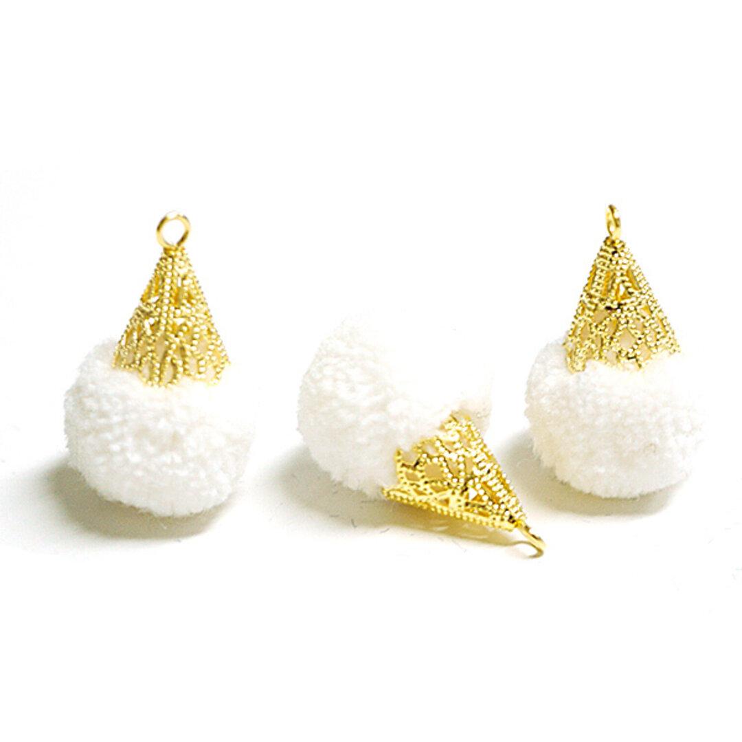 SALE【6個入り】約17mm毛糸(ウール100%)ホワイトカラーボンボンアンチックキャップチャーム、パーツ