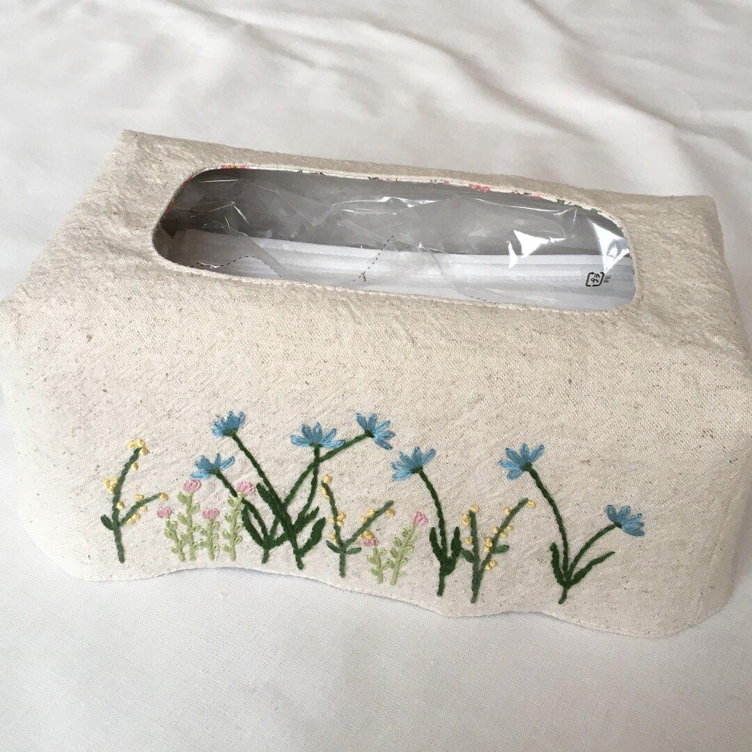 手刺繍 箱マスクカバー