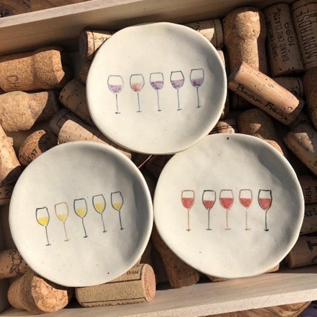 ワイン小皿 白&赤&紫