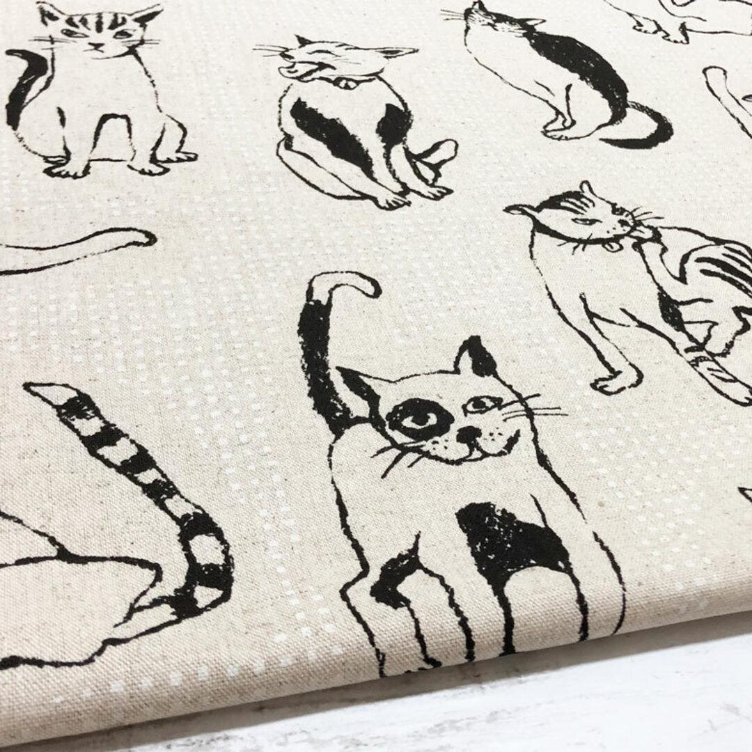 110×50 猫柄 生地 チェック×ネコ綿麻キャンバス ホワイト コットンリネン 50cm単位販売 北欧風 商用利用可 生地 猫 ねこ ネコ 黒猫