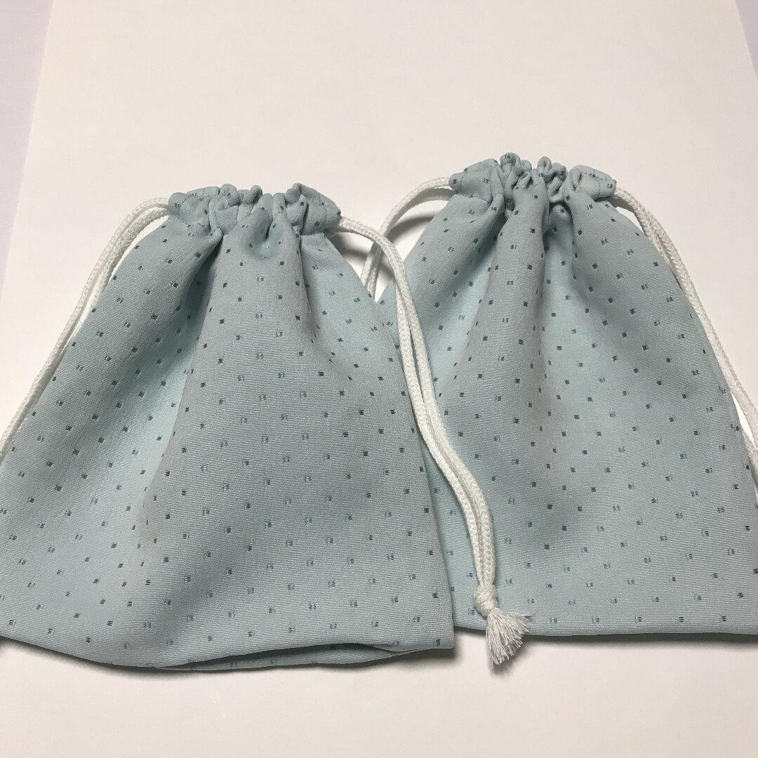 2枚セット!大人も使える!かわいいライトブルー×水玉の給食袋