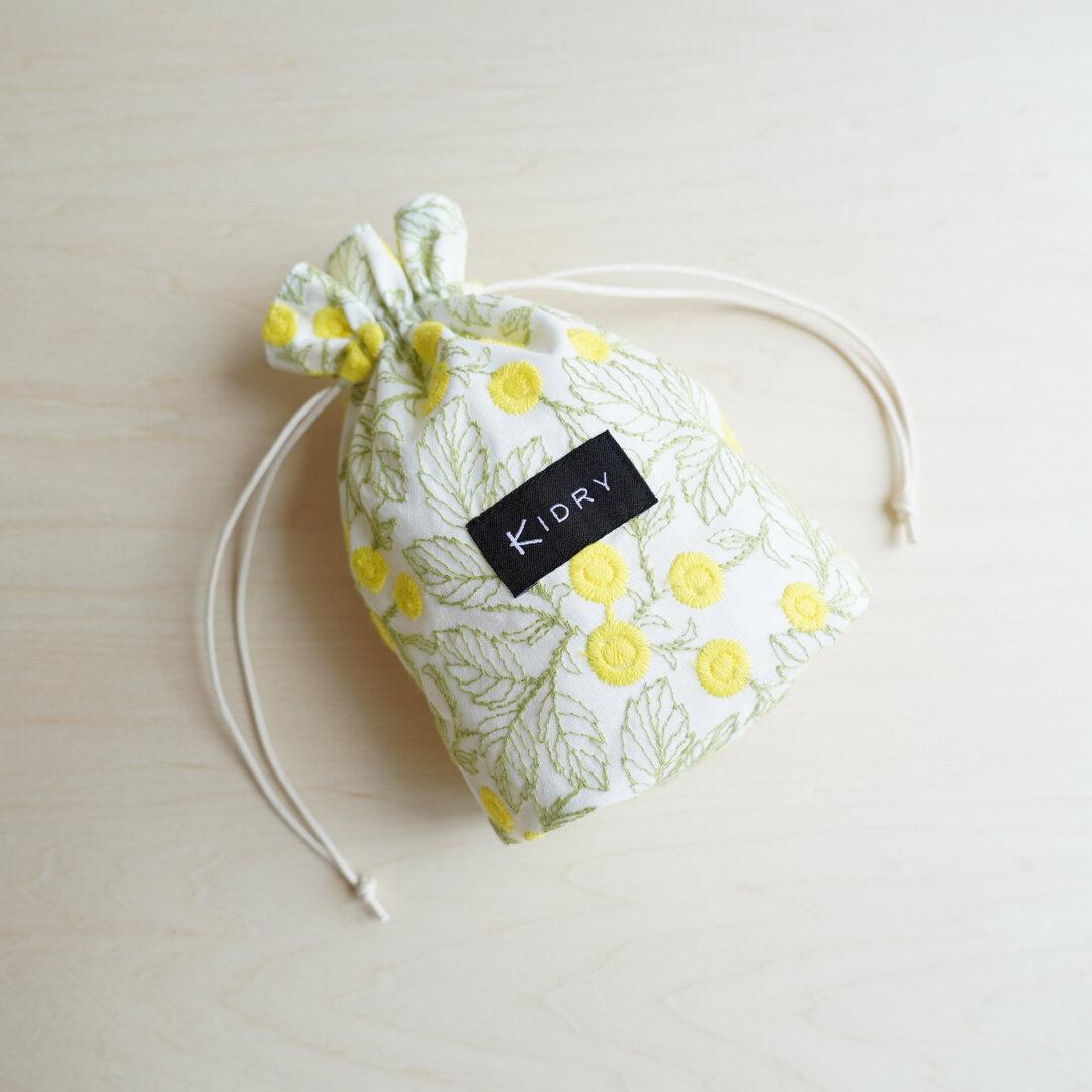 黄色いラウンドフラワー刺繍生地 折りマチ巾着