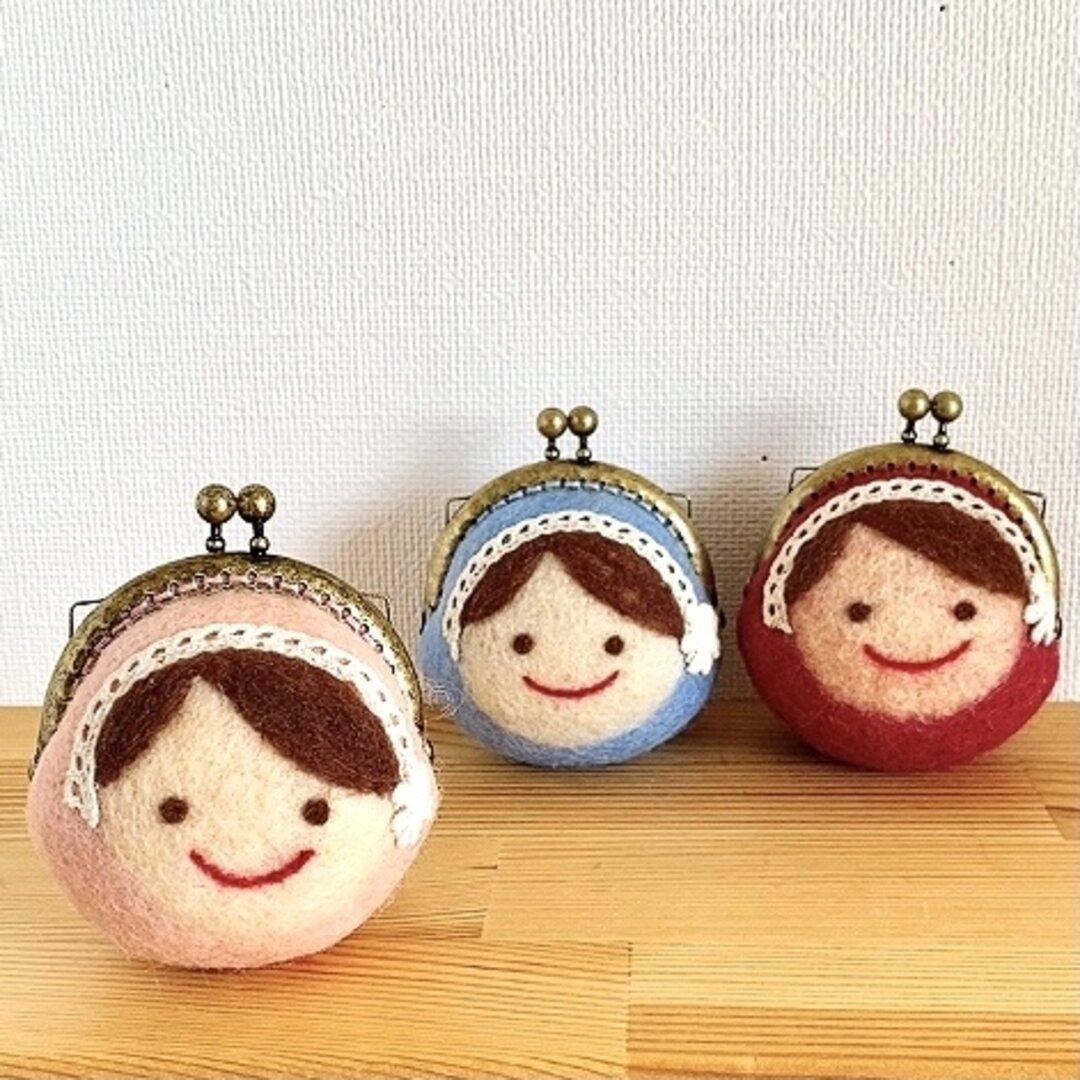 まん丸がま口〈丸顔三姉妹-ピンク〉