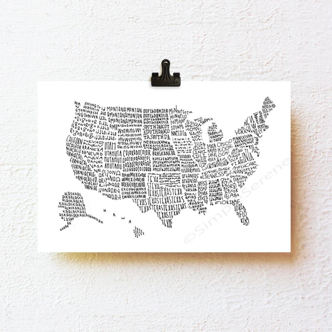 マップ・アメリカ 小さな モノクロ アート