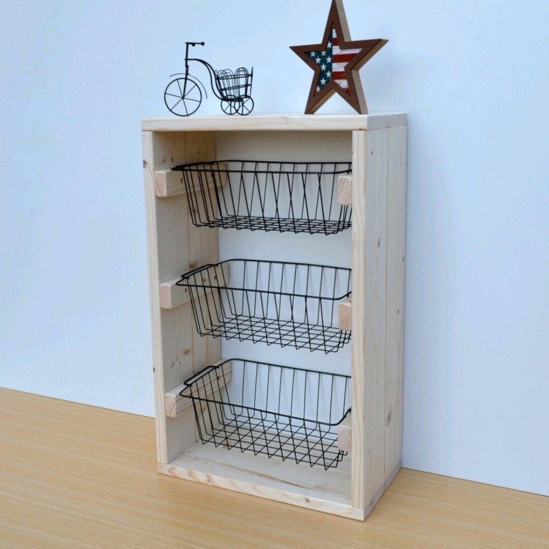 ワイヤーバスケットラック 棚 収納シェルフ 収納棚 かご カゴラック アイアン籠 バスケット 木製 棚