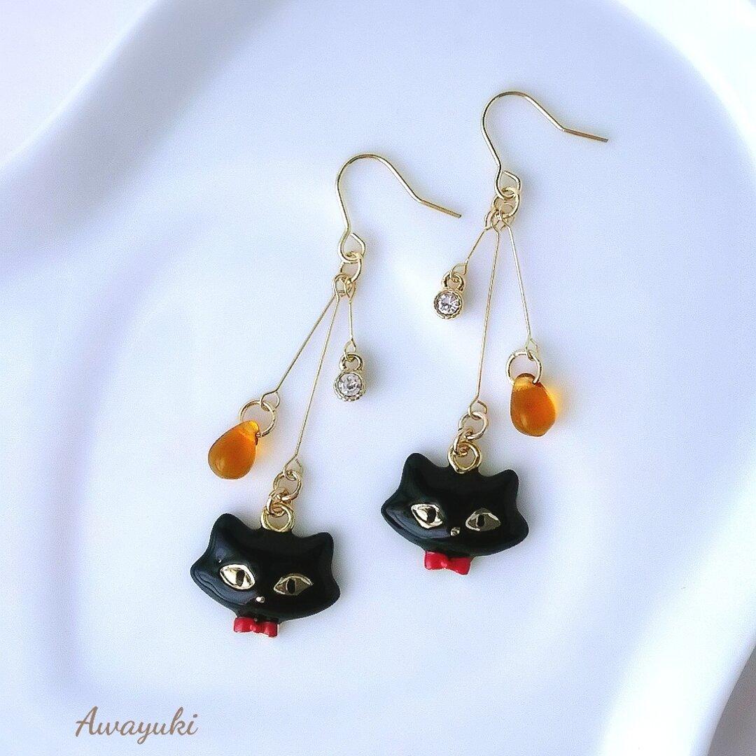 おしゃれな黒猫ハロウィンピアス(オレンジ・秋・冬・ネコ・チェコガラス・ジルコニア・揺れる・大人上品・ハロウィン)
