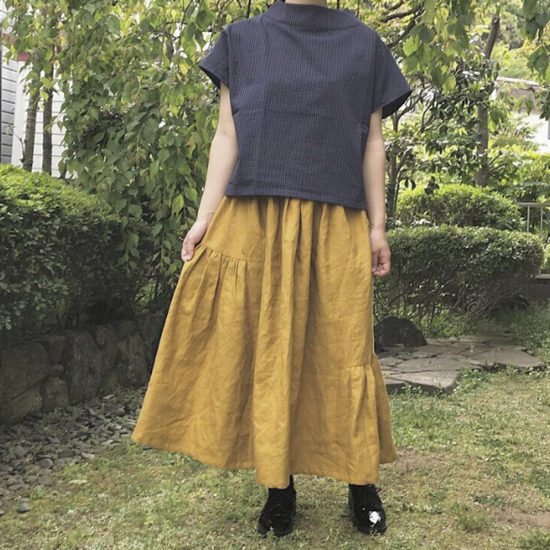 リネン マスタード の かわいい 切り替えギャザースカート