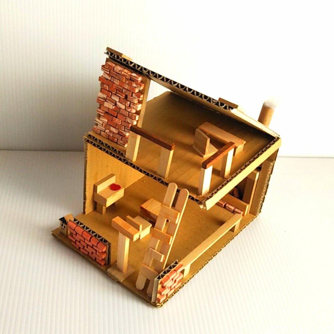 おうちで工作・ミニチュアハウス(工作キット)木、ミニレンガ付き