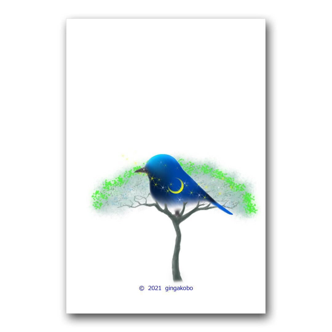 「月詠静夜」 月 星 鳥 ほっこり癒しのイラストポストカード2枚組No.1438