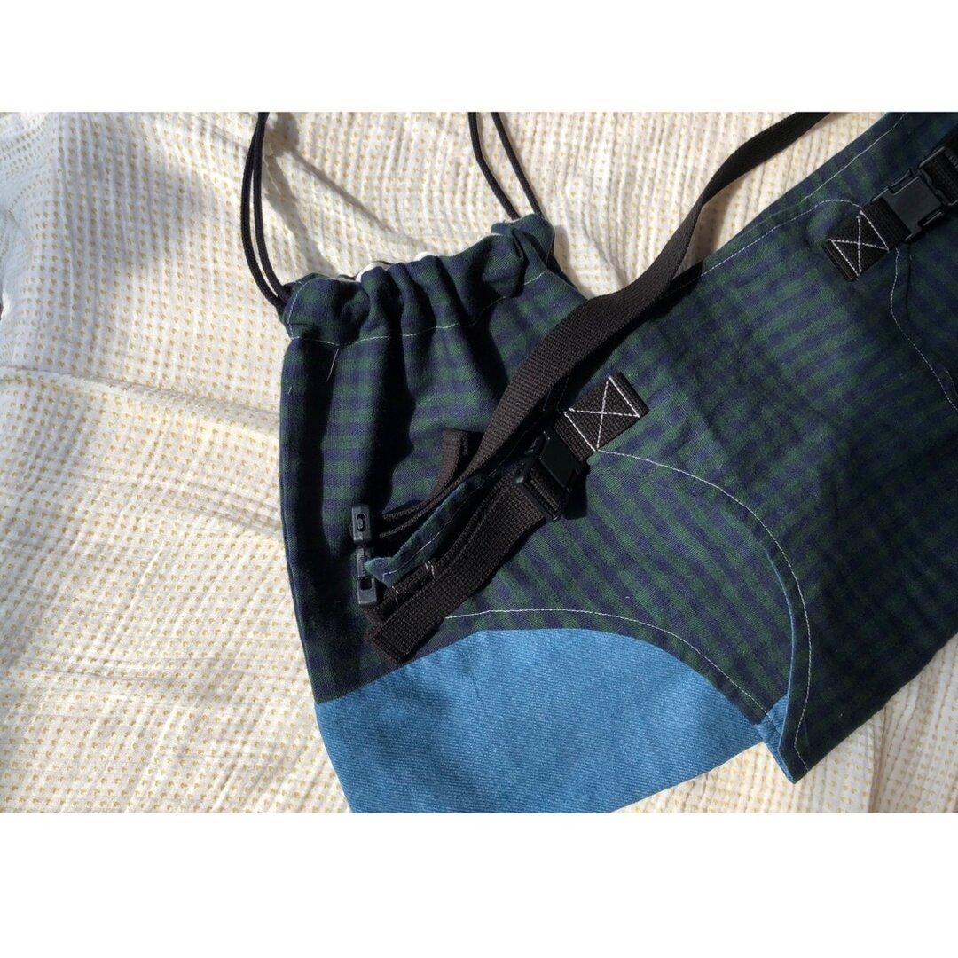 便利グッズ チェアベルト巾着付き 緑チェック/デニム