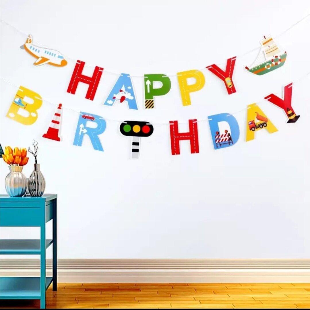 125はたらく車ガーランドお祝い飾り男の子お誕生日お祝い