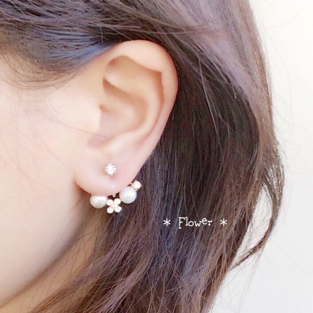【2way】flower * バックチャームイヤリング&ピアス